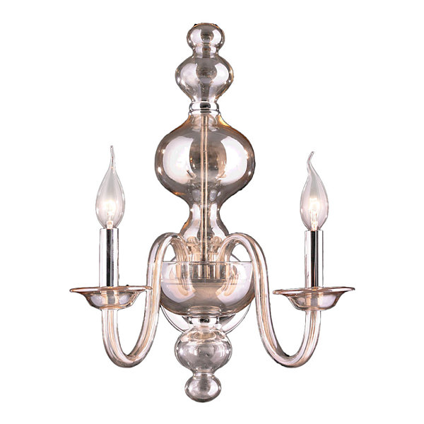 "Murano Collection 2 Light Chrome Finish and GoldenTeak Crystal Wall Sconce 15"" W x 18"" H Large"""
