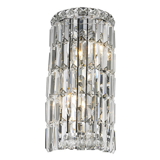 Cascade Collection 4 Light Chrome Finish Crystal Rounded Wall Sconce 8 W X 16 H Small Ada