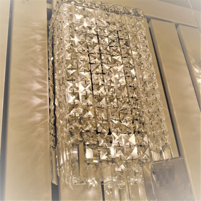 "Cascade Collection 4 Light Chrome Finish Crystal Rectangular Wall Sconce  8"" W x 18"" H ADA"""