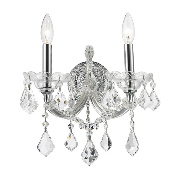 "Maria Theresa Collection 2 Light Clear Crystal Candle Wall Sconce 12"" W x 16"" H Medium"""