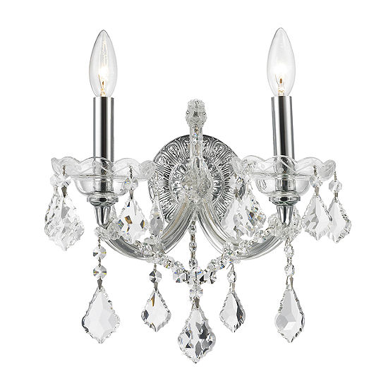 """Maria Theresa Collection 2 Light Clear Crystal Candle Wall Sconce 12"""" W x 16"""" H Medium"""