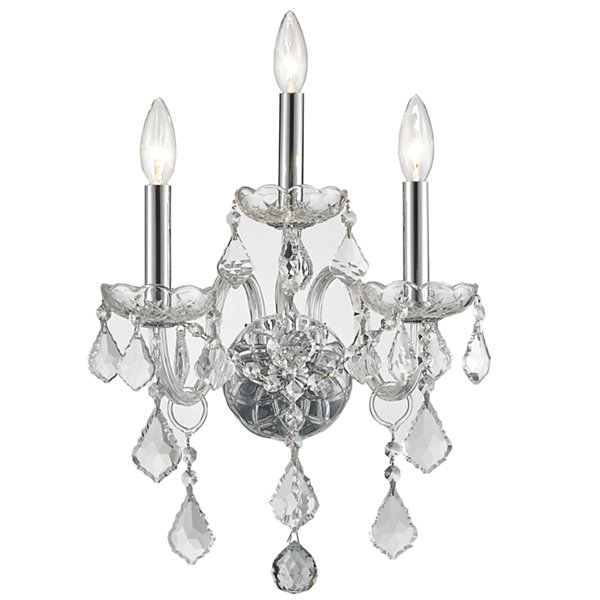 "Provence Collection 3 Light Chrome Finish and Clear Crystal Candle Wall Sconce 13"" W x 18"" H MediumTwo 2 Tier"""
