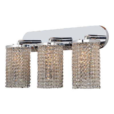"Prism Collection 3 Light Chrome Finish and Clear Crystal Wall Sconce Vanity Light 25"" W x 10"" H Extra Large"""