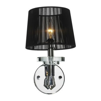 """Gatsby Collection 1 Light Arm Chrome Finish and Clear Crystal Wall Sconce with Black String Shade 7""""W x 13"""" H Small"""""""