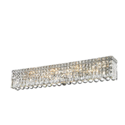 "Cascade Collection 8 Light Chrome Finish Crystal Vanity Light 36"" Wide ADA"