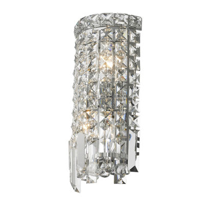 "Cascade Collection 2 Light Chrome Finish Crystal Rounded Wall Sconce 6"" W x 13"" H ADA"""