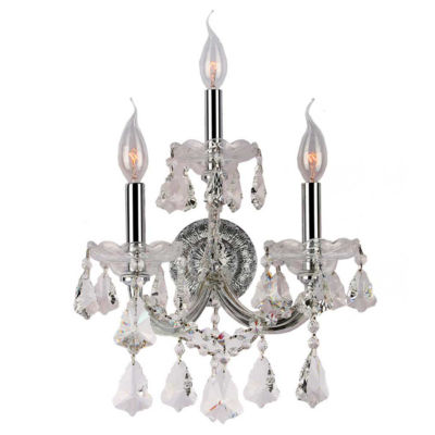 Maria Theresa Collection 3 Light Two-Tier Clear Crystal Candle Wall Sconce