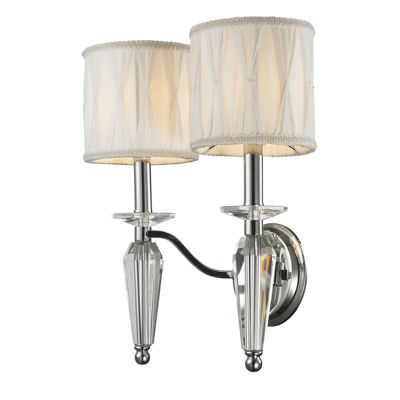 "Gatsby Collection 2 Light Arm Chrome Finish and Clear Crystal Wall Sconce with White Fabric Shade 13"" W x 16"" H Medium"