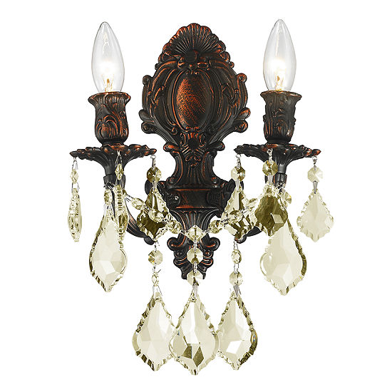 Versailles Collection 2 Light Golden Teak Crystal Candle Wall Sconce