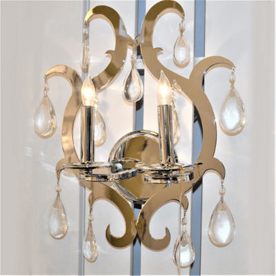 "Henna Collection 2 Light Chrome Finish and Clear Crystal Wall Sconce 13"" W x 17"" H Medium"""
