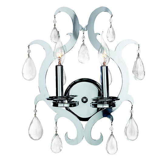 """Henna Collection 2 Light Chrome Finish and Clear Crystal Wall Sconce 13"""" W x 17"""" H Medium"""