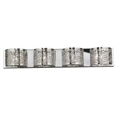 "Aramis Collection 4 Light Chrome Finish and ClearCrystal Wall Sconce 40"" W x 7"" H Extra Large"""