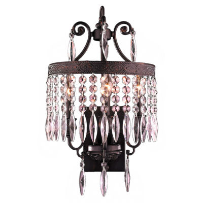 "Enfield Collection 3 Light Flemish Brass FinishandClear Crystal Wall Sconce 12"" W x 21"" H Medium"""