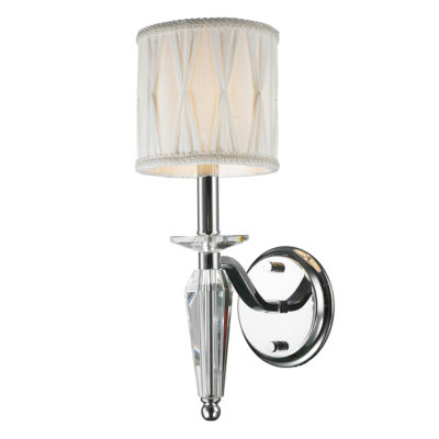 """Gatsby Collection 1 Light Arm Chrome Finish and Clear Crystal Wall Sconce with White Fabric Shade 6""""W x 16"""" H Small"""""""