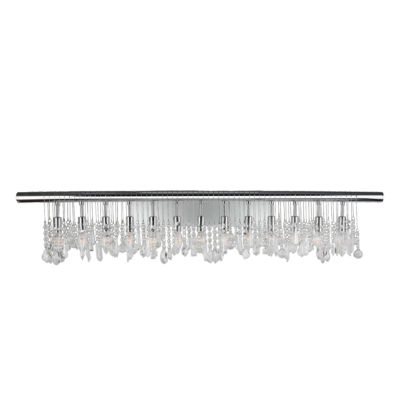 "Nadia Collection 13 Light Chrome Finish and Clear Crystal Vanity Wall Sconce 48"" W x 10"" H Extra Large"