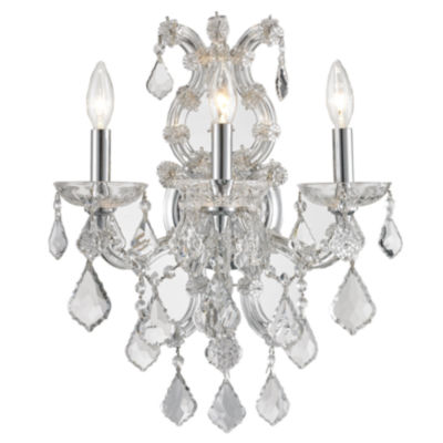"Lyre Collection 3 Light Chrome Finish and Clear Crystal Candle Wall Sconce 15"" W x 19"" H Large"""