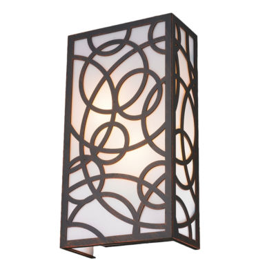 """Cumulus Collection 2 Light Flemish Brass Finish with Opal Acrylic Diffuser 8"""" W x 15"""" H Small ADA"""""""