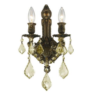 Versailles Collection 2 Light Golden Teak CrystalWall Sconce