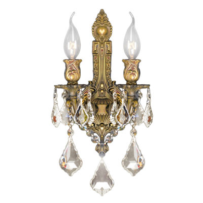 Versailles Collection 2 Light Golden Teak CrystalWall Sconce