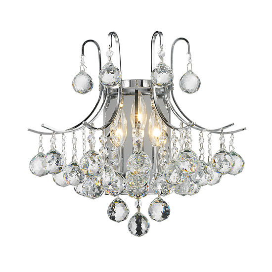 Empire Collection 3 Light Clear Crystal Wall Sconce 16 W X 16 H Large