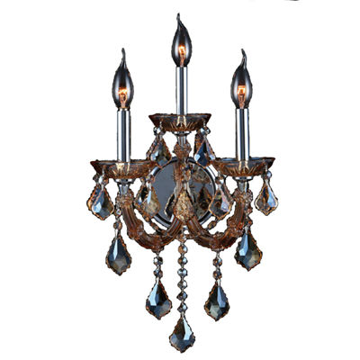 Lyre Collection 3 Light 2-Tier Chrome Finish and Crystal Candle Wall Sconce