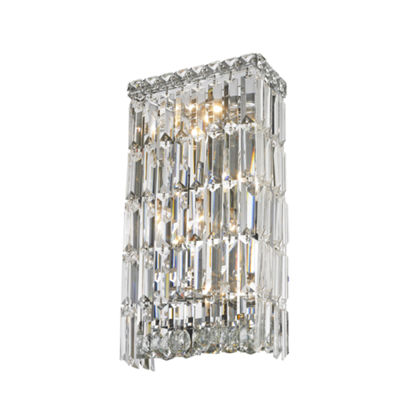 "Cascade Collection 4 Light Chrome Finish Crystal Rectangular Wall Sconce 8"" W x 16"" H Small ADA"""