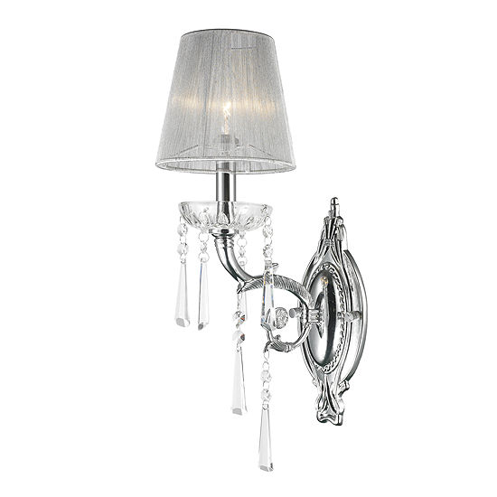 "Orleans Collection 1 Light Arm Chrome Finish and Clear Crystal Wall Sconce with White String Shade 6"" W x 18"" H Small"