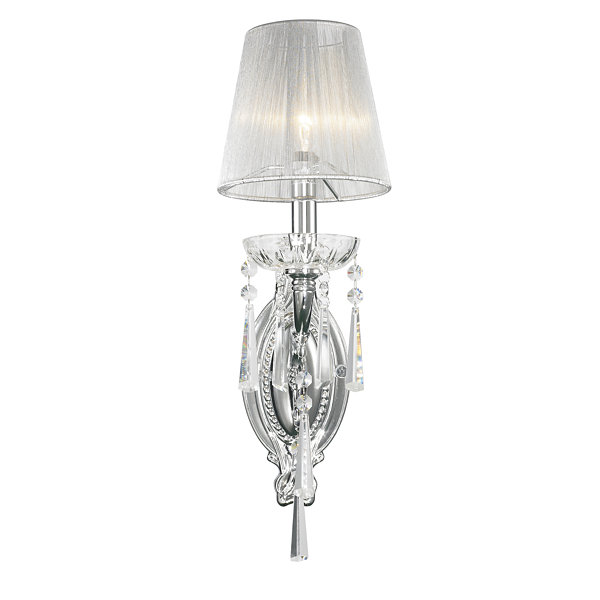 "Orleans Collection 1 Light Arm Chrome Finish and Clear Crystal Wall Sconce with White String Shade 6"" W x 18"" H Small"""