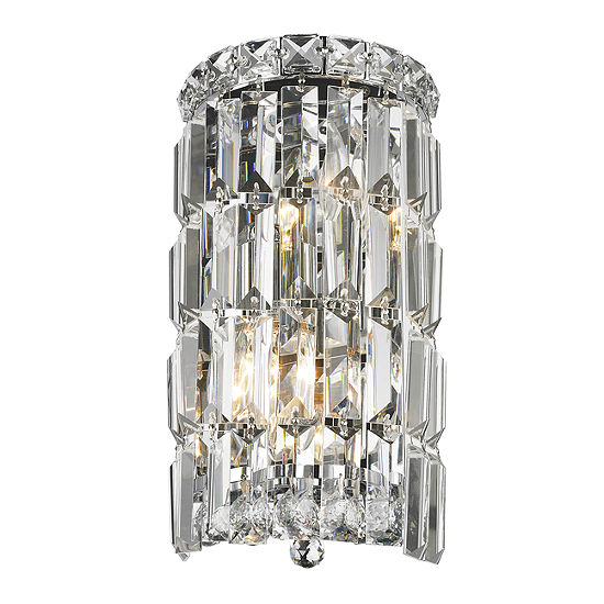 """Cascade Collection 2 Light Chrome Finish Crystal Rounded Wall Sconce 6"""" W x 12"""" H Small ADA"""