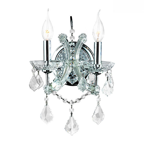 """Lyre Collection 2 Light Chrome Finish and Clear Crystal Candle Wall Sconce Light 10"""" W x 15"""" H Medium"""