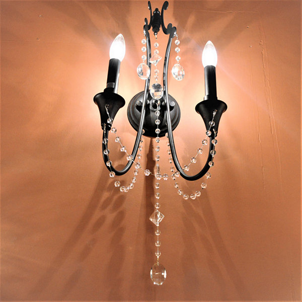 "Enfield Collection 2 Light Flemish Brass Finish Crystal Wall sconce 11"" W x 23"" H Medium"""