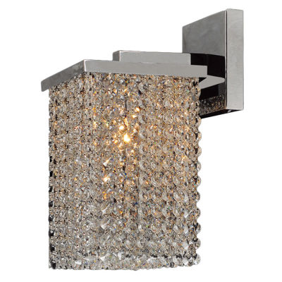 "Prism Collection 1 Light Chrome Finish and Clear Crystal Wall Sconce Vanity Light 6"" W x 10"" H Small"