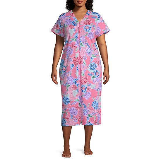 Collette By Miss Elaine Short Sleeve Nightgown - Womens Plus