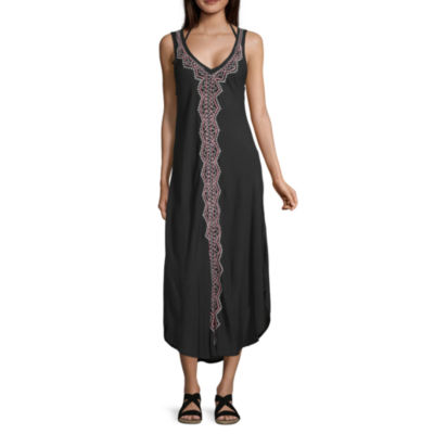 Lm Beach Embroidered Swimsuit Cover-Up Dress
