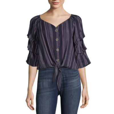 Almost Famous Womens V Neck 3/4 Sleeve Peasant Top-Juniors