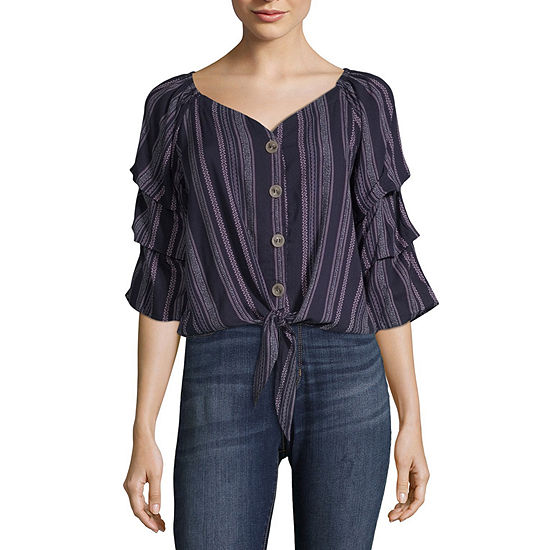 Almost Famous Womens V Neck 3 4 Sleeve Peasant Top Juniors