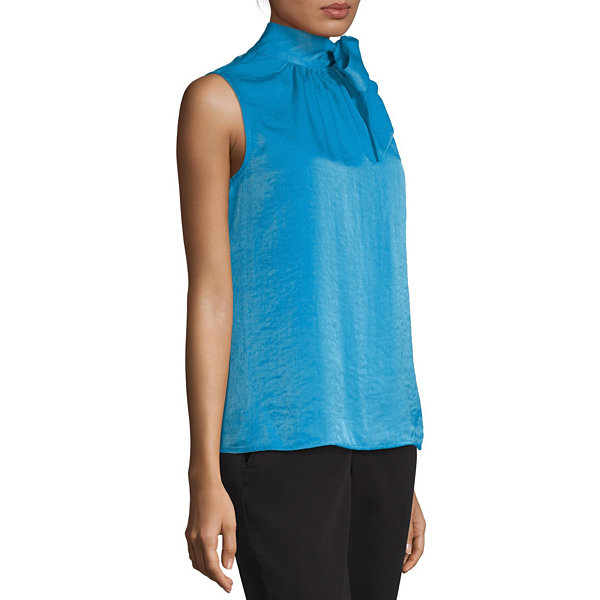 Worthington Womens High Neck Sleeveless Satin Blouse