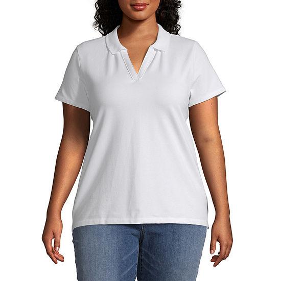 St. John's Bay Womens Short Sleeve Knit Polo Shirt Plus