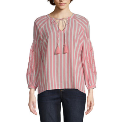 St. John's Bay Womens V Neck Long Sleeve Embroidered Blouse