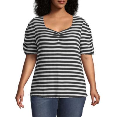 a.n.a-Womens Sweetheart Neck Short Sleeve T-Shirt Plus
