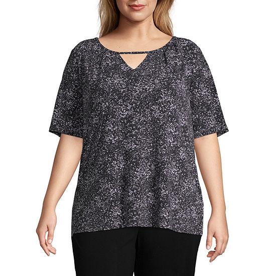 Worthington-Womens Scoop Neck Short Sleeve T-Shirt Plus