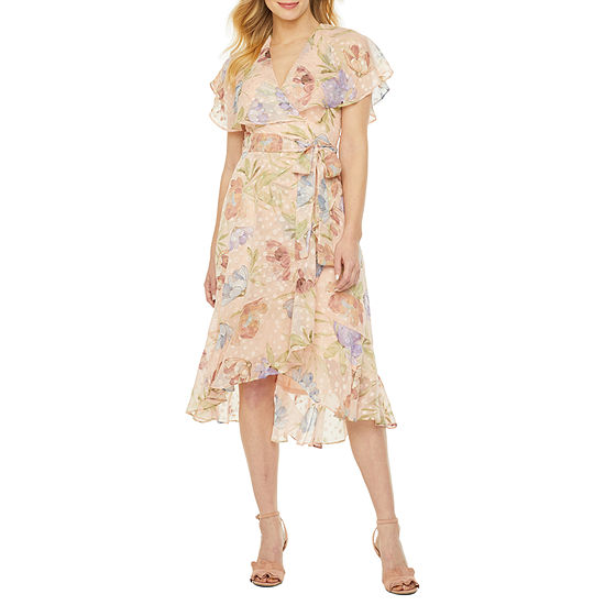 Danny & Nicole Short Sleeve Floral Clip Dot Fit & Flare Dress