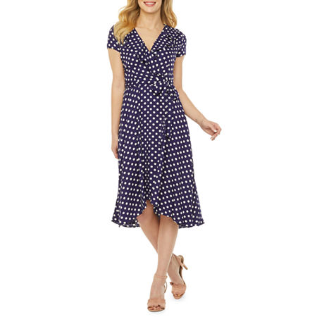 Swing Dance Clothing You Can Dance In Danny  Nicole Short Sleeve Polka Dot Fit  Flare Dress 6  Blue $34.39 AT vintagedancer.com
