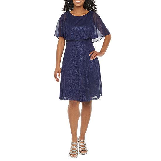 J Taylor-Petite Short Sleeve Cape Fit & Flare Dress