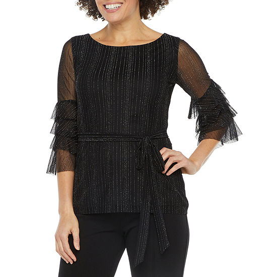 J Taylor Womens 3/4 Tiered Sleeve Blouse
