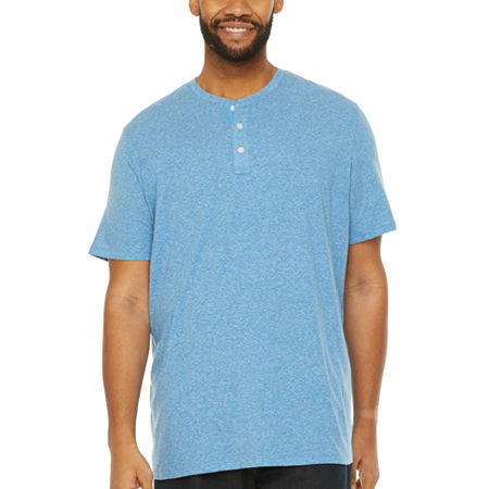 The Foundry Big & Tall Supply Co.- Mens Short Sleeve Henley Shirt, Large Tall , Blue