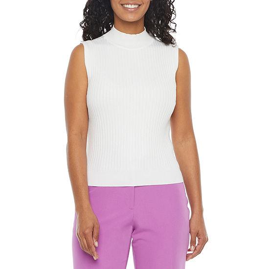 Worthington Womens Sleeveless Mock Neck Sweater - Petite