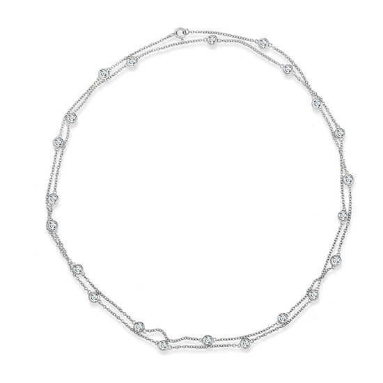 DiamonArt® Womens White Cubic Zirconia Sterling Silver Strand Necklace