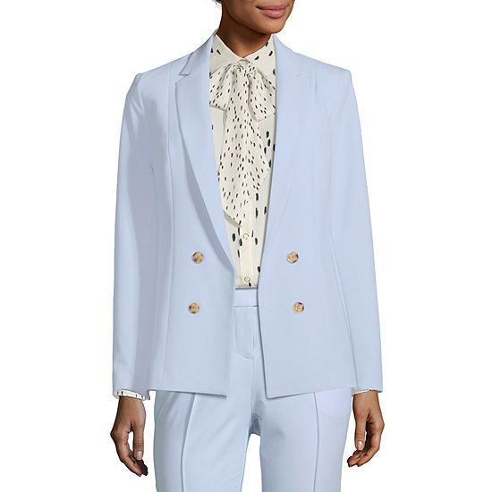 Worthington Womens Classic Fit Twill Double Breasted Blazer