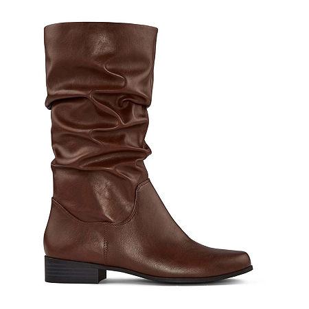 east 5th Womens Jarrett Slouch Block Heel Wide Width Wide Calf Boots, 7 Wide, Brown